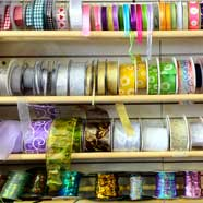 Ribbons galore from Victoria Fabrics in Wotton-under-Edge.