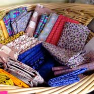 "Another basket of ""Fat Quarters"" at Victoria Fabrics."