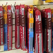 Everything you need! Victoria Fabrics has wools, knitting needles and a large number of knitting patterns.