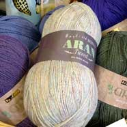 Hayfield Bonus Aran Tweed yarn from Victoria Fabrics in Wotton-under-Edge.